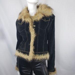BeBe black leather suede faux fur collar ja
